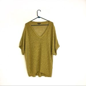 Eileen Fisher Mustard Yellow V-Neck Linen Top L